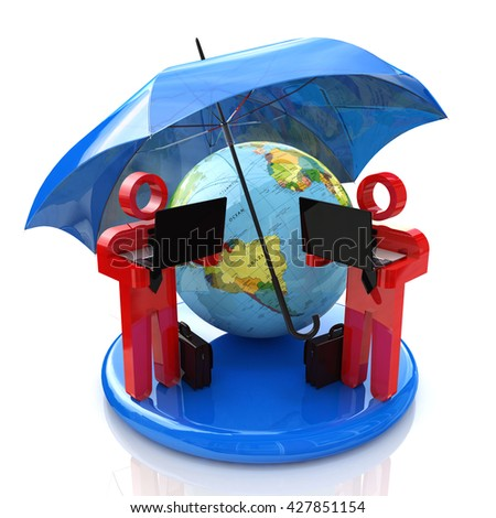 security of global communication in the design of the information associated with communication. 3d illustration - stock photo