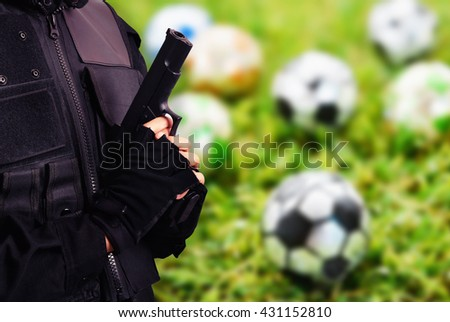 security of soccer competition game background - stock photo