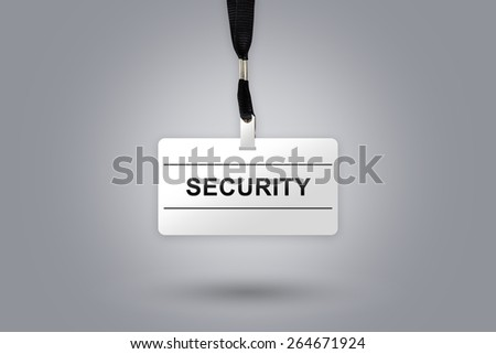 security on badge with grey radial gradient background - stock photo
