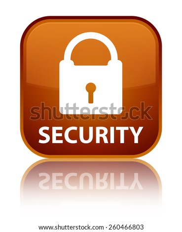 Security (padlock icon) brown square button