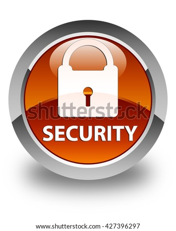 Security (padlock icon) glossy brown round button
