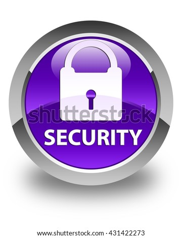 Security (padlock icon) glossy purple round button