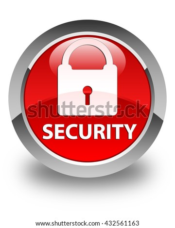 Security (padlock icon) glossy red round button
