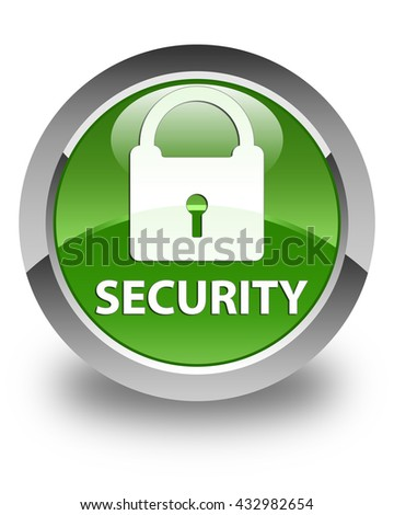 Security (padlock icon) glossy soft green round button