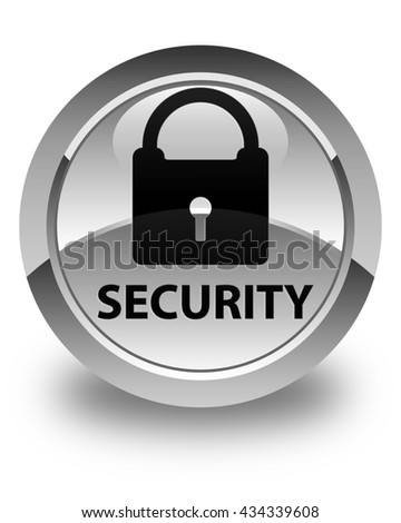 Security (padlock icon) glossy white round button