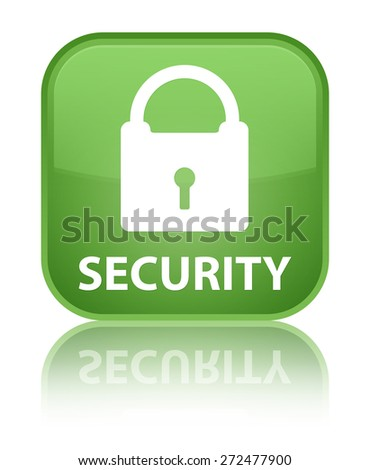 Security (padlock icon) soft green square button - stock photo