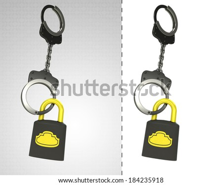 security padlock in chain as criminality concept double illustration - stock photo
