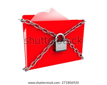 Security protection of files, or confidential files concept,Red folder of files protected by a lock and chains. Isolated on a white background. - stock photo
