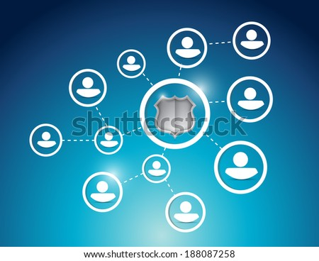 security protection people network illustration design over a blue background - stock photo