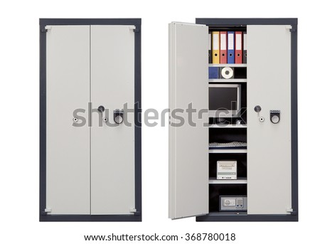 Security Safe Locker closed and open isolated on white background with clipping path - stock photo