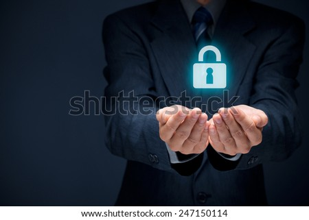 Security services and protection concept. Login, sign in concepts. Businessman offer padlock, symbol of security.  - stock photo