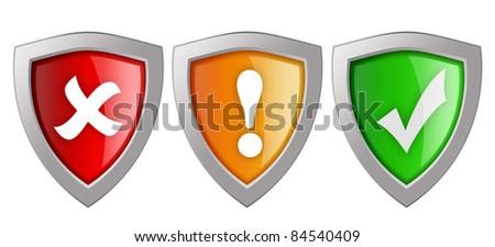 Security shields illustration - stock photo