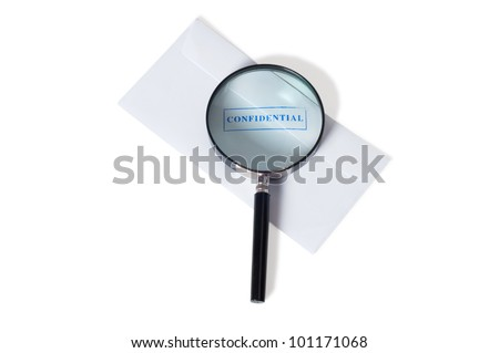 security stamp on envelope with magnifying glass isolated on white background - stock photo