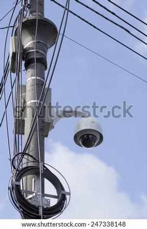 Security surveillance cameras. CCTV on a pole - stock photo