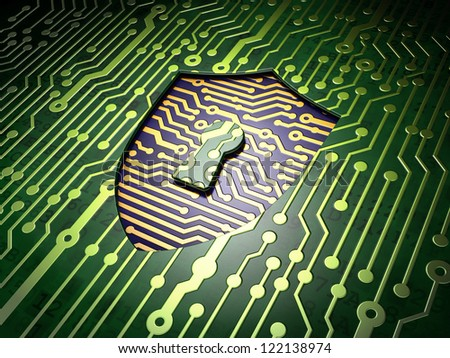 Security system concept: circuit board with shield with keyhole icon, 3d render - stock photo