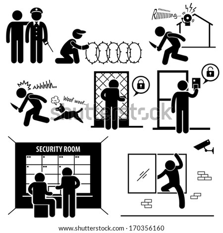 Security System Stick Figure Pictogram Icon - stock photo