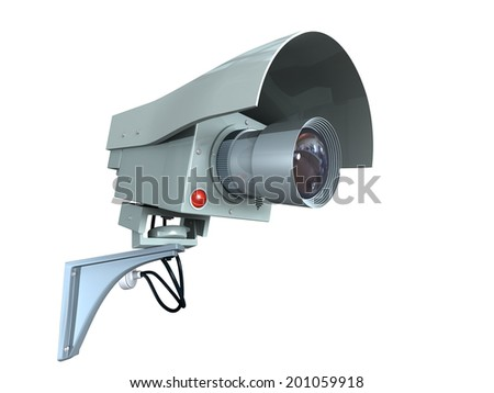 Security video camera, isolated on white background