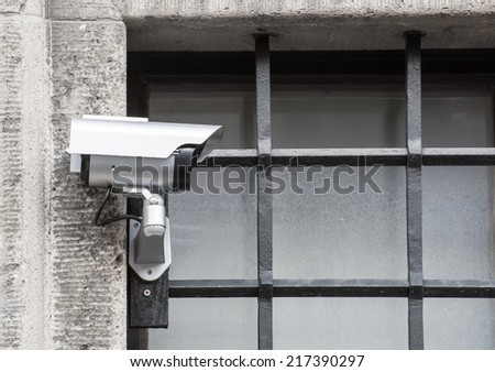 Security with a video surveillance camera at a jailhouse window