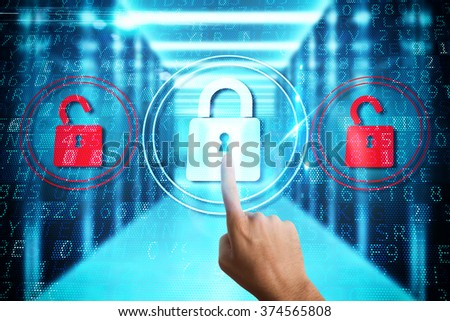 Security with padlock - stock photo