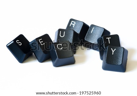 Security word with keyboard letters isolate on white background. - stock photo