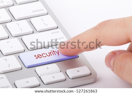 Security word written on computer keyboard.