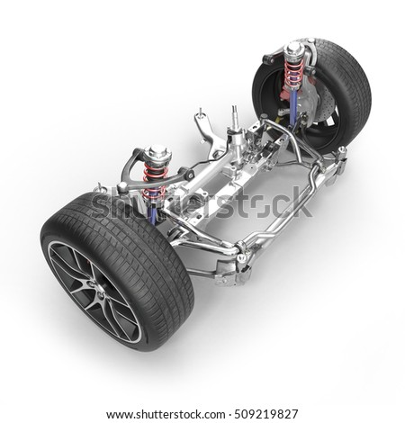 Sedan front suspension with new tire on white. 3D illustration
