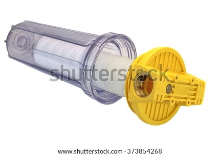 Sediment Water Filter Cartridge In Transparent Plastic Container Isolated On White Background, Close Up, Horizontal Image, Studio Shot - stock photo