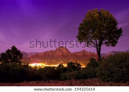Sedona Arizona seen at night - stock photo