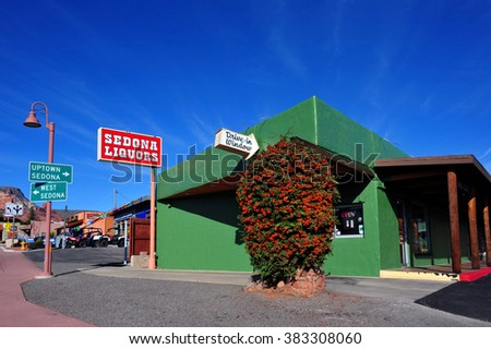 SEDONA, ARIZONA, USA - FEBRUARY 23, 2016: Sedona Liquors, a popular liquor store that offers a drive-through, liquor delivery and cigars. - stock photo