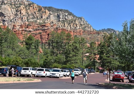 SEDONA, AZ - JUNE 20: Slide Rock State Park in Sedona, AZ on June 20.2016. One of the most beautiful parks in Arizona, and many people visit every year. - stock photo