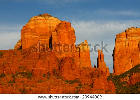 Sedona Cathedral Rock at sunset - stock photo