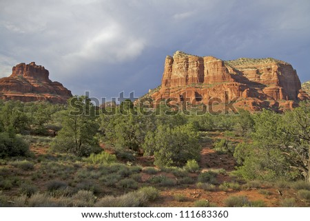 Sedona Red Rock Country and Monsoon Storm Clouds - stock photo