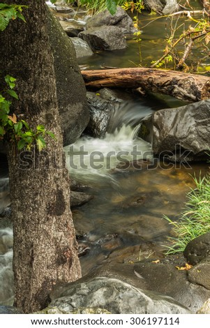 Sedona's Oak Creek on a Cloudy and Rainy Day - stock photo