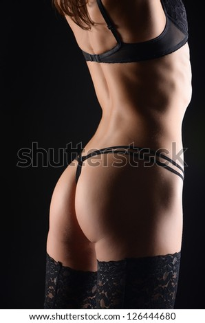 seductive girl in lingerie - stock photo