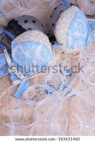 seductive lingerie at pink background - stock photo