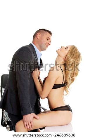 Seductive woman and man - office romance concept. - stock photo