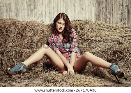 Seductive young woman in jeans shorts and a plaid shirt alluring on a hay. Denim fashion. Western style. Beauty, fashion. - stock photo