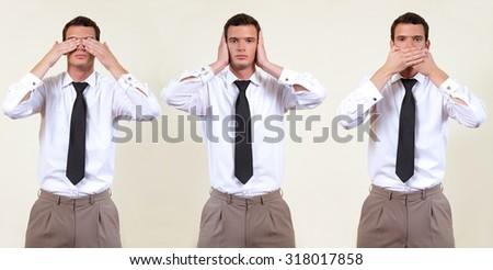 see, hear, speak no evil - stock photo