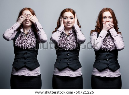 See, hear, speak no evil businesswoman concept. - stock photo