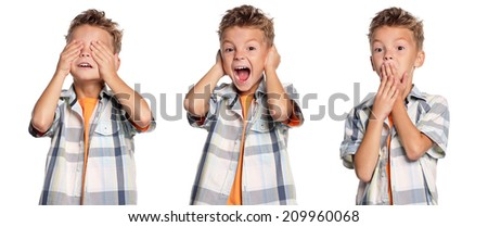 See no evil, hear no evil, speak no evil boy - stock photo