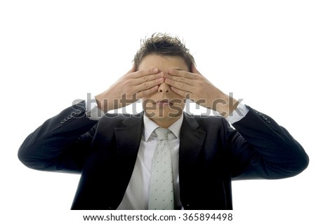 See no Evil, Hear no Evil, Speak no Evil concept with a young businessman against white background. - stock photo
