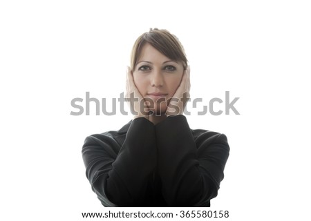 See no Evil, Hear no Evil, Speak no Evil concept with a young businesswoman. Isolated on white background with copy space. - stock photo