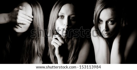 See No Evil, Speak No Evil, Hear No Evil - stock photo