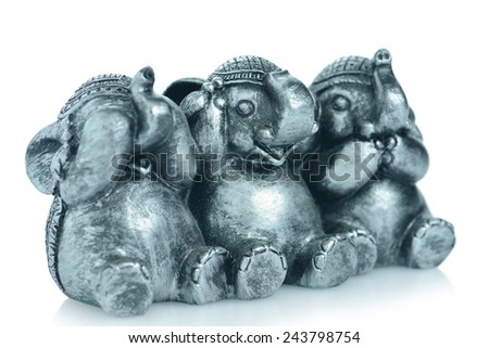 See No Evil, Speak No Evil, Hear No Evil Elephants - stock photo