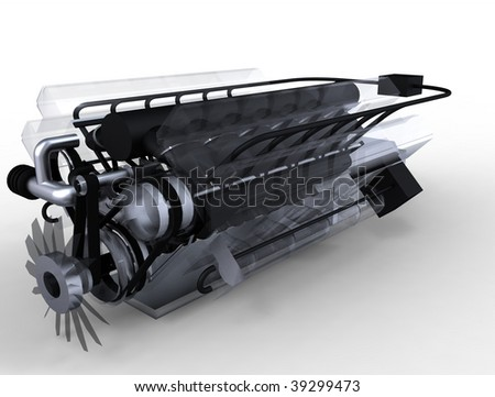 See through / glass car engine