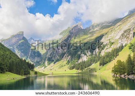 Seealpsee (lake) and the Alpstein massif - stock photo