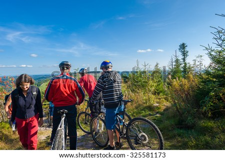 SEEBACH, GERMANY - SEPTEMBER 06, 2009: Mountain bikers on the Hornisgrinde,  Black Forest, Baden-Wuerttemberg, Germany, Europe