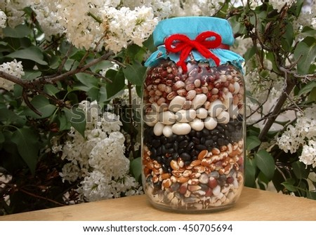 Seed beans and corn in a jar, with springtime flowers. - stock photo