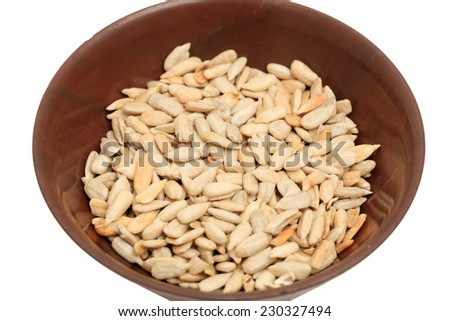 Seed health food selection in red porcelain bowls.