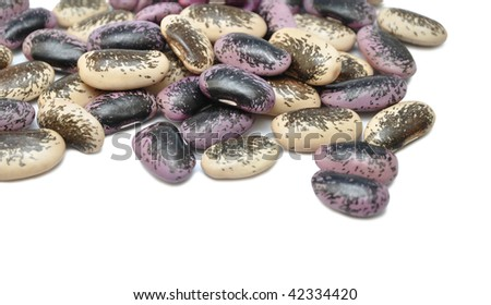 Seed of spotted beans on a white background